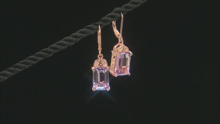 Lavender amethyst 18k rose gold over silver earrings 7.34ctw