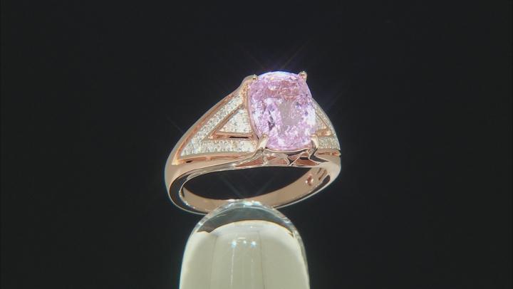 Pink kunzite 18k rose gold over silver ring 3.26ctw
