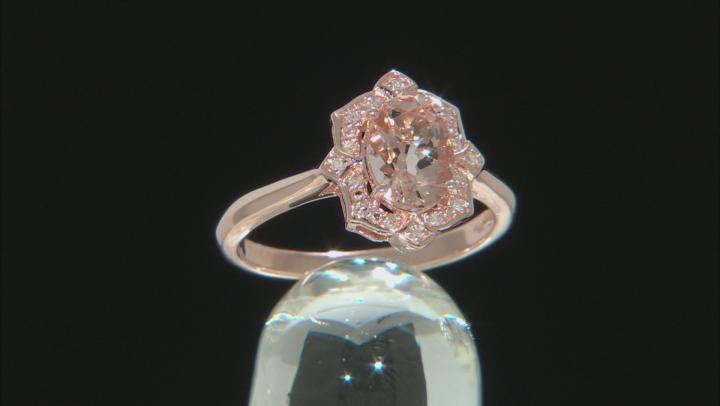 Pink morganite 18k rose gold over silver ring .98ctw