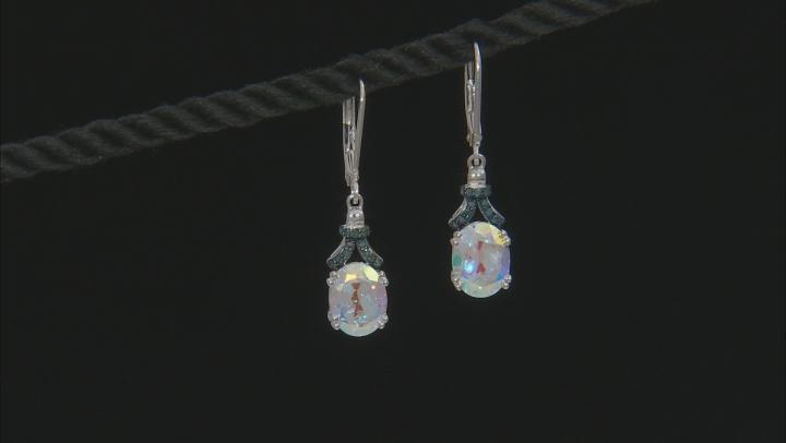 Multi-color Mercury Mist(R) topaz rhodium over silver earrings 4.04ctw