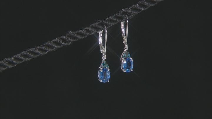 Blue Kyanite Rhodium Over Silver Earrings 1.66ctw