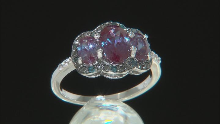 Blue Lab Created Alexandrite Rhodium Over Silver Ring 2.26ctw