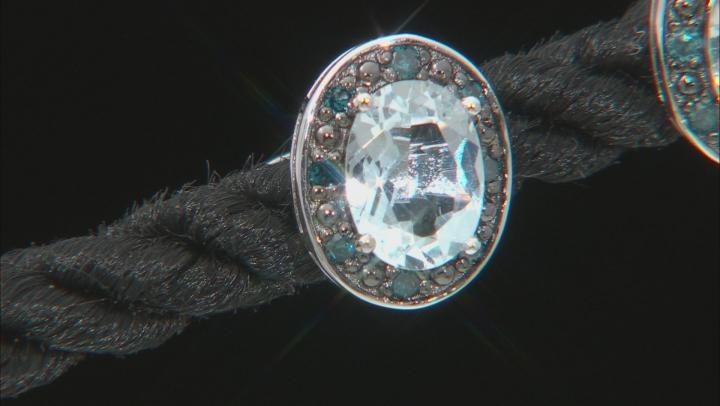 Blue Aquamarine Rhodium Over Silver Earrings 1.29ctw