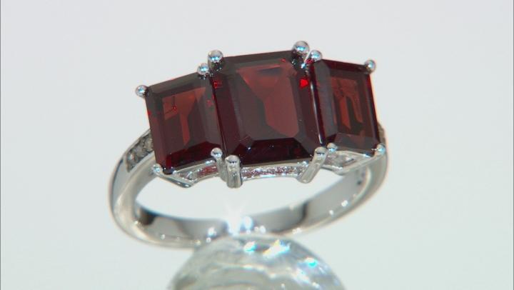 Red Garnet Rhodium Over Silver Ring 4.86ctw