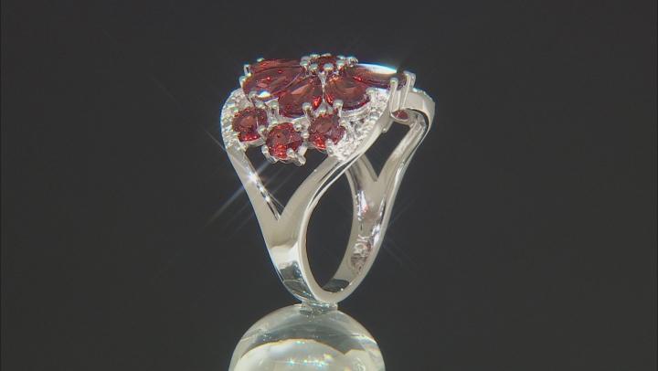 Red Garnet Rhodium Over Silver Ring 5.24ctw