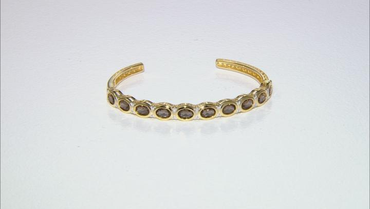 Brown smoky quartz 18k yellow gold over silver cuff bracelet 6.64ctw