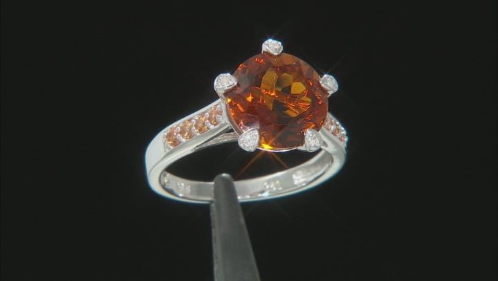 Orange Madeira Citrine Rhodium Over Silver Ring 3.23ctw