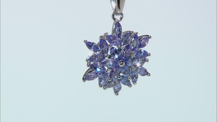 Blue Tanzanite Rhodium Over Silver Pendant With Chain 1.46ctw
