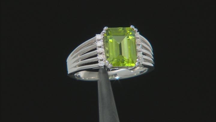 Green Peridot Rhodium Over Silver Ring 2.20ctw