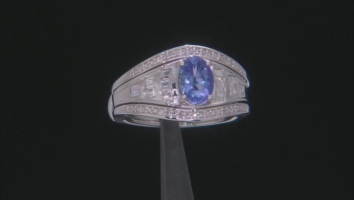 Blue tanzanite rhodium over silver ring 1.54ctw