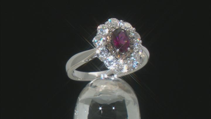 Purple Rhodolite Rhodium Over Sterling Silver Ring 2.09ctw