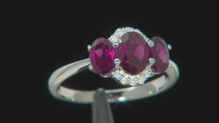 Purple Rhodolite Rhodium Over Sterling Silver Ring 2.03ctw