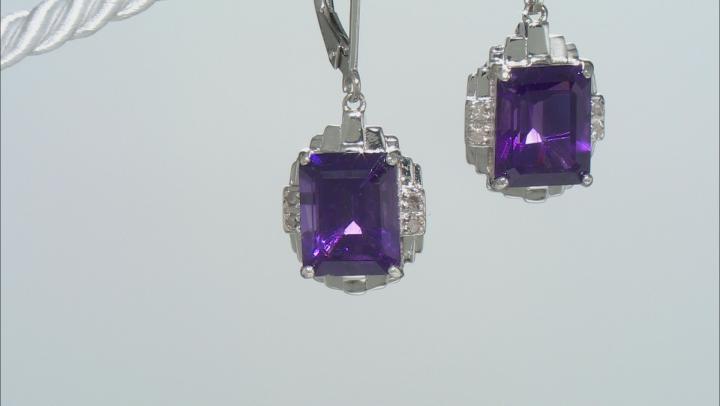 Purple Amethyst Rhodium Over Sterling Silver Earrings 6.17tw