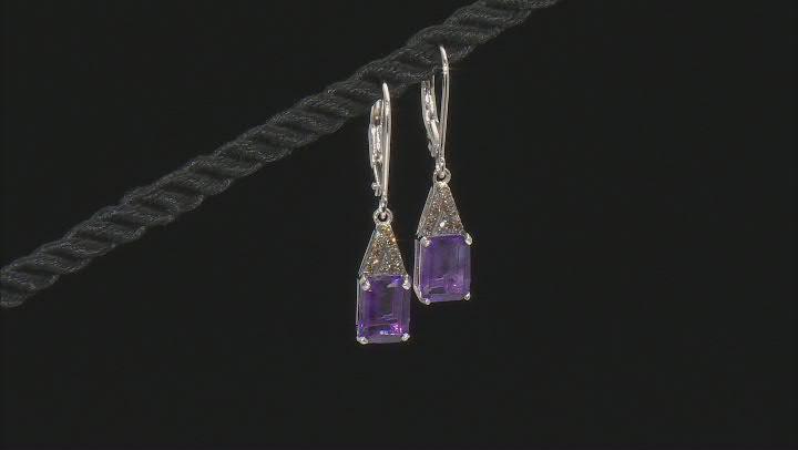 Purple Amethyst Rhodium Over Sterling Silver Dangle Earrings 2.66ctw