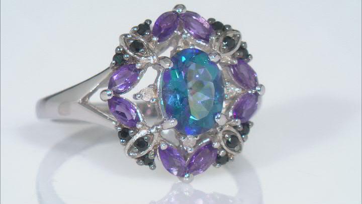 Multicolor Petalite Rhodium Over Sterling Silver Ring 1.58ctw