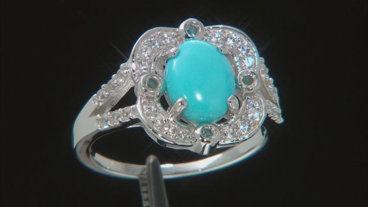Oval Sleeping Beauty Turquoise, Blue Diamond Accent, Zircon Rhodium Over Silver Ring 1.54ctw