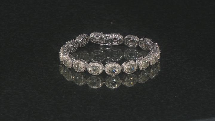 Yellow Oval Labradorite With Round Diamond Rhodium Over Sterling Silver Bracelet 14.11ct