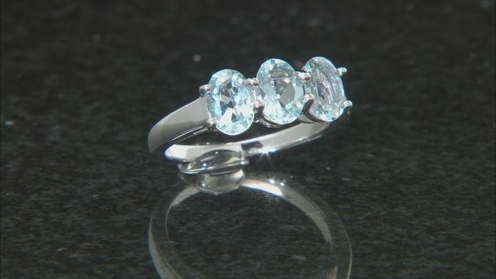 Blue Aquamarine Rhodium Over Sterling Silver Ring 1.56ctw