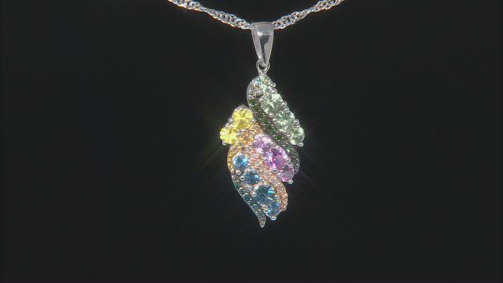 Multi-Color Sapphire Rhodium Over Silver Pendant with Chain 1.15ctw