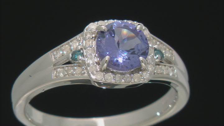Blue Tanzanite Rhodium Over Silver Ring 1.04ctw