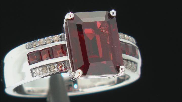 Vermelho Garnet Rhodium Over Sterling Silver Ring. 3.75ctw