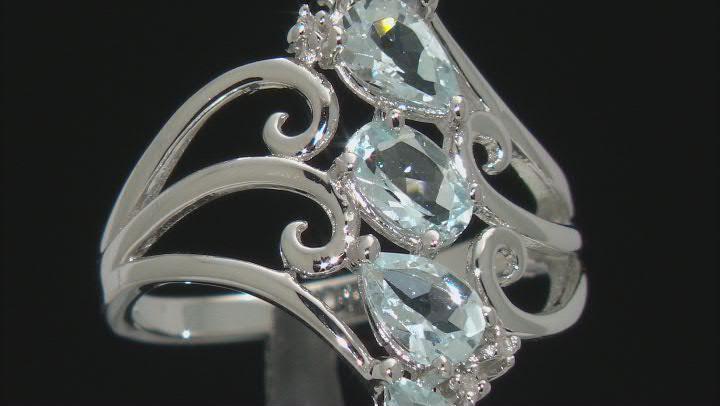 Blue Aquamarine Rhodium Over silver Ring 1.48ctw