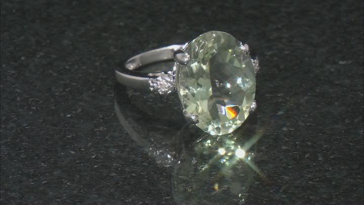 Green Prasiolite Rhodium Over Sterling Silver Ring 7.83ct