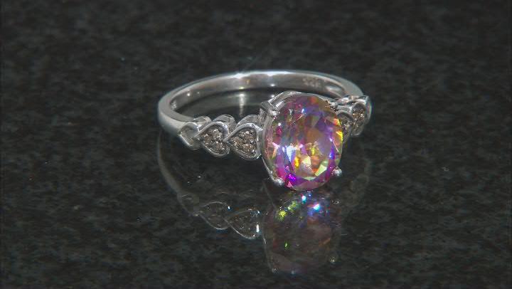Multi-Color Northern Lights(TM) Quartz Rhodium Over Sterling Silver Ring 1.95ctw