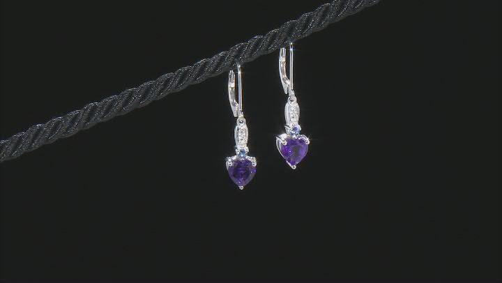 Purple Amethyst  Rhodium Over Silver Earrings 2.09ctw