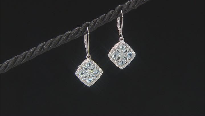 Blue Aquamarine Rhodium Over Silver Dangle Earrings 1.86ctw
