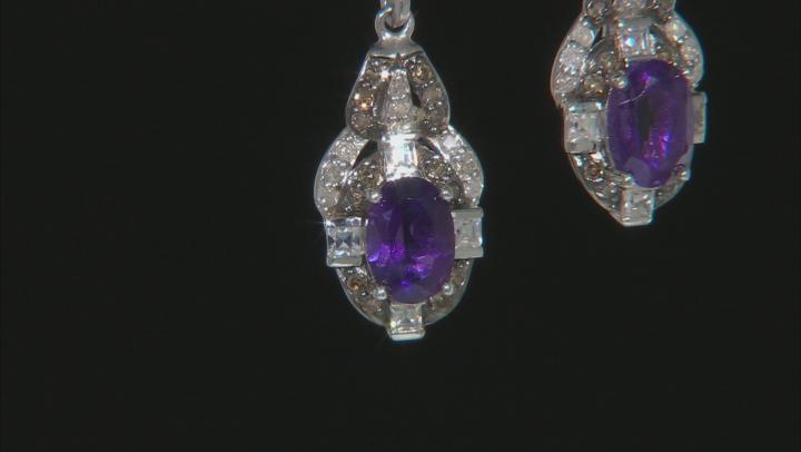 Purple African Amethyst Rhodium Over Silver Earrings 1.94ctw