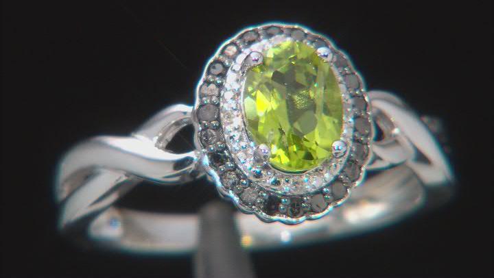Green Manchurian Peridot ™ Rhodium Over Sterling Silver Ring. 0.83ctw