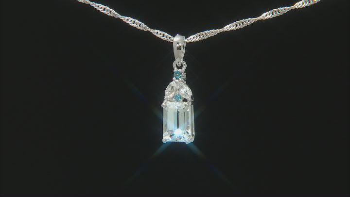 Blue Aquamarine Rhodium Over Silver Pendant With Chain 1.34ctw