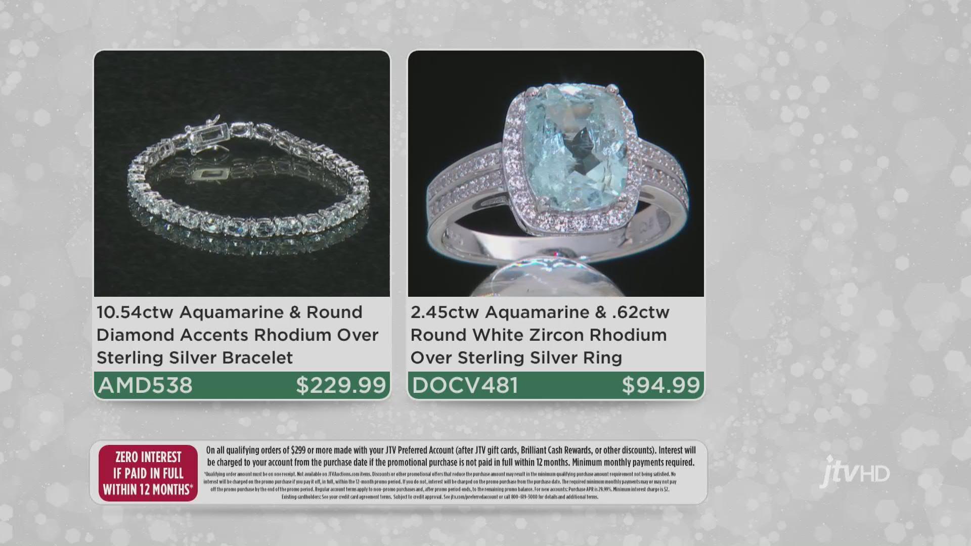 Blue Aquamarine Rhodium Over Sterling Silver Bracelet 10.57ctw