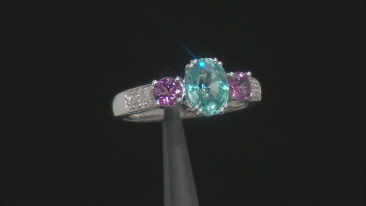Blue Zircon Rhodium Over 10K White Gold Ring 2.07ctw