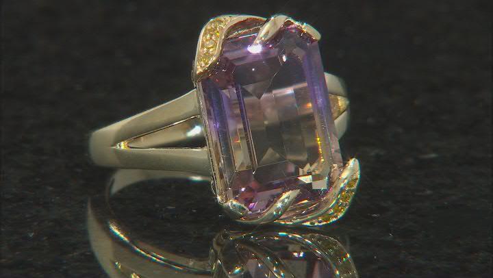Ametrine and Yellow Diamond 10K Yellow Gold Ring 6.54ctw