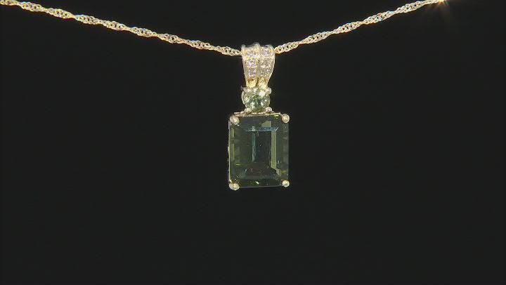 Green Moldavite 10K Yellow Gold Pendant Chain 2.35ctw