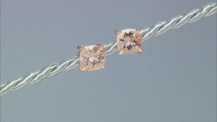 Peach Morganite 10k Rose Gold Stud Earrings 1.40ctw