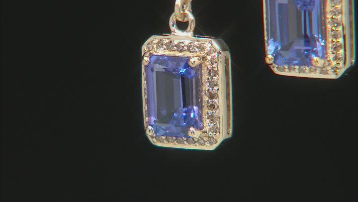Blue Tanzanite 10k Yellow Gold Earrings 2.85ctw