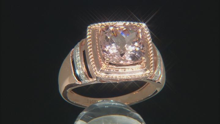 Cor-De-Rosa Morganite 10k Rose Gold Gents Ring 4.15ctw
