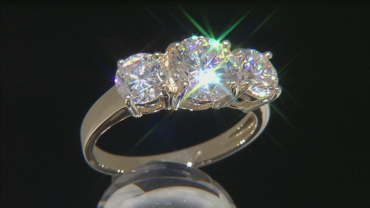 White Fabulite Strontium Titanate 10k Yellow Gold 3-Stone Ring 4.83ctw