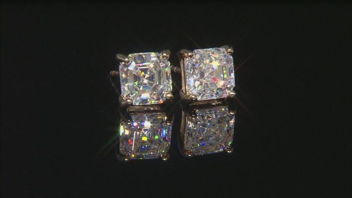 White Fabulite Strontium Titanate 10k Yellow Gold Stud Earrings 2.75ctw