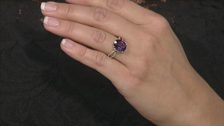 Purple Amethyst 10k Yellow Gold Ring 3.39ctw