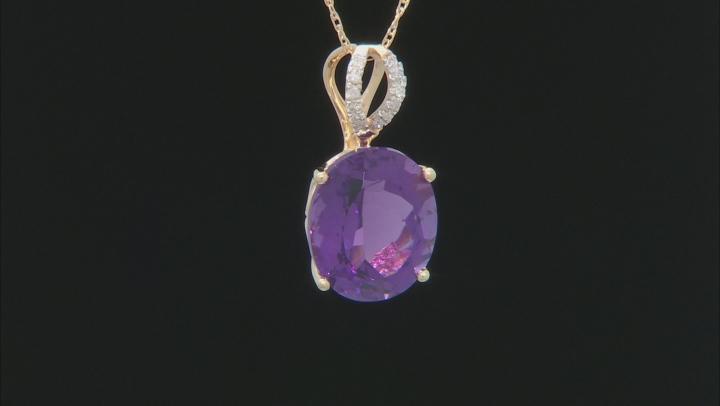 Purple Amethyst 10k Yellow Gold Pendant With Chain 3.57ctw