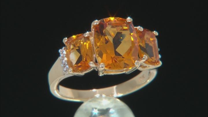 Orange Rectangular Cushion Madeira Citrine 10k Yellow Gold Ring 3.84ctw