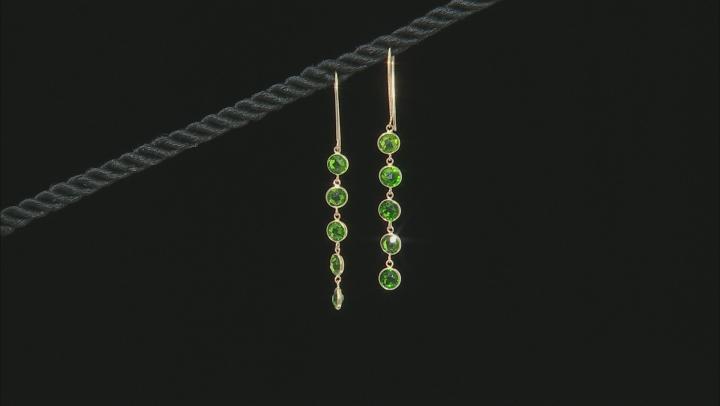 Green Russian Chrome Diopside 14k Yellow Gold Dangle Earrings 3.00ctw