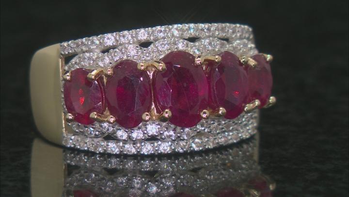 Red Mahaleo® Ruby 10k Yellow Gold 5-Stone Ring 3.34ctw