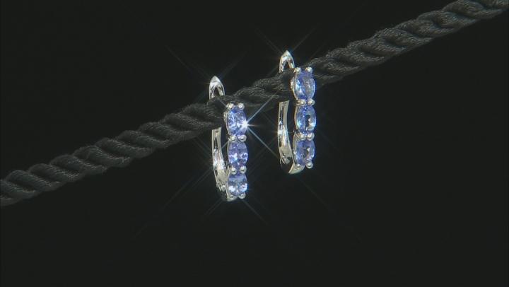 Blue Tanzanite Rhodium Over 10k White Gold Earrings 1.12ctw