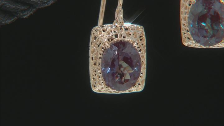 Lab Created Blue Alexandrite 10k Yellow Gold Filigree earrings 3.74ctw