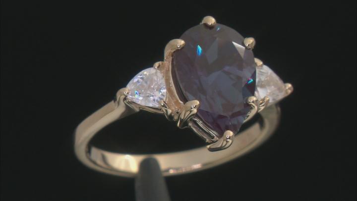 Blue  Lab Created Alexandrite 10k Yellow Gold Ring  3.59ctw